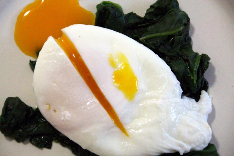 Poached Duck Egg with Wilted Spinach